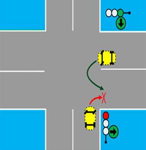 светофор со знаком стрелка направо